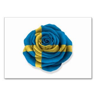 Bandera color de rosa sueca en blanco
