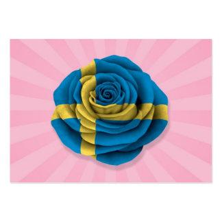 Bandera color de rosa sueca en rosa tarjetas de visita