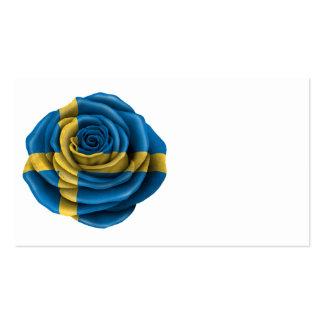Bandera color de rosa sueca tarjeta personal