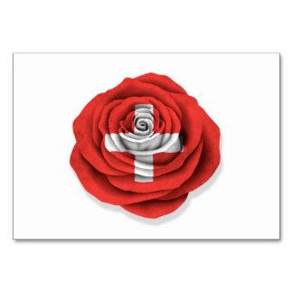Bandera color de rosa suiza en blanco