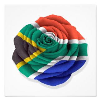 Bandera color de rosa surafricana en blanco comunicados personales