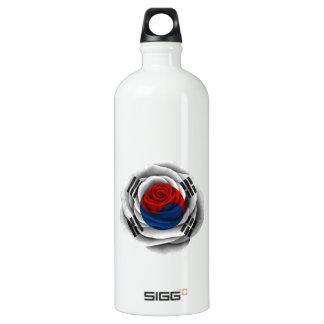Bandera color de rosa surcoreana botella de agua