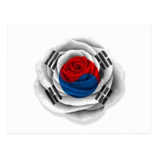 Bandera color de rosa surcoreana en blanco postal