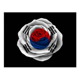 Bandera color de rosa surcoreana en negro tarjeta postal