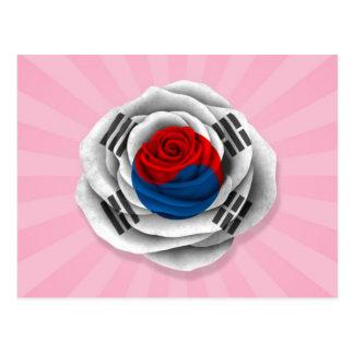 Bandera color de rosa surcoreana en rosa postal