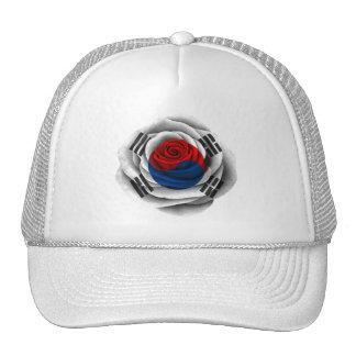 Bandera color de rosa surcoreana gorros
