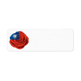 Bandera color de rosa taiwanesa etiqueta de remite