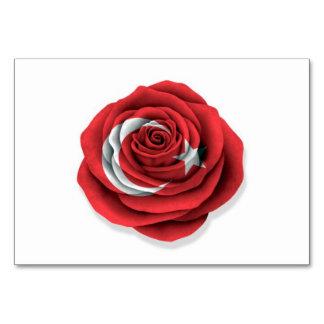 Bandera color de rosa turca en blanco