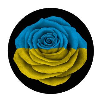 Bandera color de rosa ucraniana en negro juego de fichas de póquer