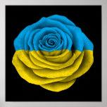 Bandera color de rosa ucraniana en negro posters