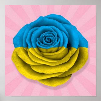 Bandera color de rosa ucraniana en rosa póster