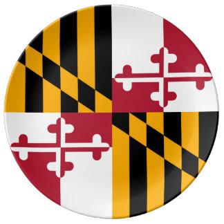 Bandera colorida del estado de Maryland Plato De Cerámica