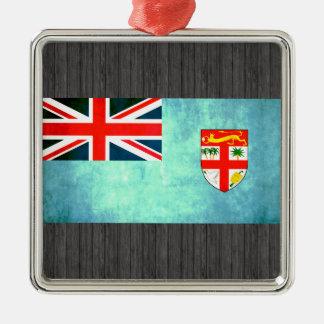 Bandera colorida del Fijian del contraste Adorno Cuadrado Plateado