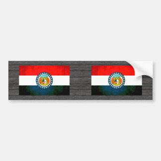 Bandera colorida del Missourian del contraste Pegatina De Parachoque