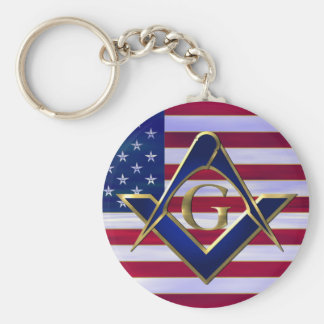 Bandera con el cuadrado y los compases llavero redondo tipo pin