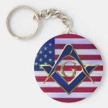 Bandera con el cuadrado y los compases llaveros