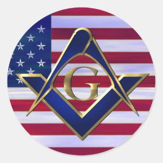 Bandera con el cuadrado y los compases pegatina redonda