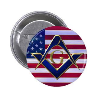 Bandera con el cuadrado y los compases pin redondo de 2 pulgadas