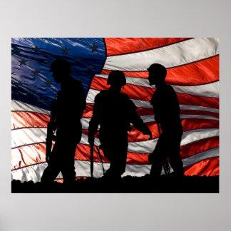 Bandera con el poster de la silueta del soldado