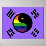 Bandera coreana del orgullo de GLBT Posters