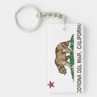 Bandera Corona del Mar de la república de Californ Llavero Rectangular Acrílico A Doble Cara