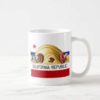 Bandera cosquillosa del oso de California Taza Básica Blanca
