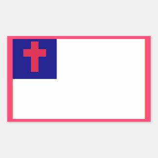 Bandera cristiana rectangular pegatina