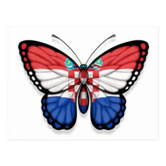 Bandera croata de la mariposa tarjeta postal