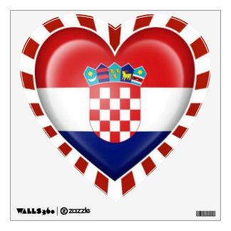 Bandera croata del corazón con la explosión de la  vinilo adhesivo