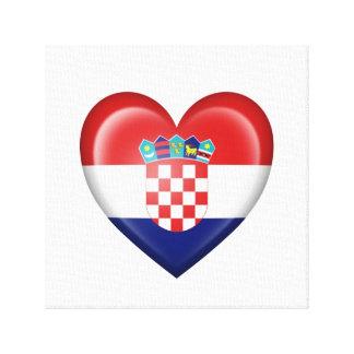 Bandera croata del corazón en blanco impresiones de lienzo