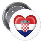 Bandera croata del corazón en blanco pin