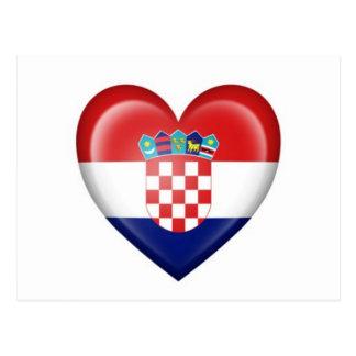 Bandera croata del corazón en blanco tarjeta postal