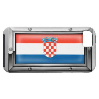 Bandera croata en un marco de acero funda para iPhone SE/5/5s