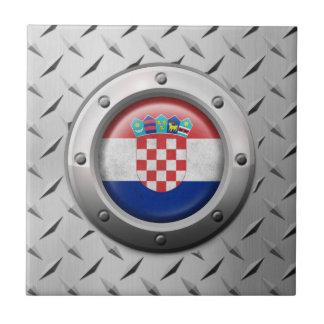 Bandera croata industrial con el gráfico de acero teja