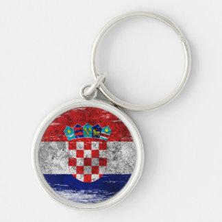 Bandera croata rascada y llevada llavero redondo plateado