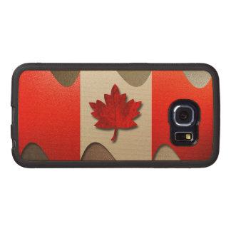 Bandera-Cromo de Canadá Funda De Madera Para Samsung Galaxy S6 Edge