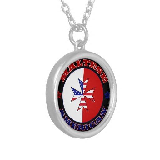 Bandera cruzada americana maltesa colgante redondo