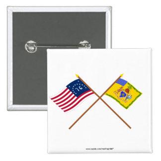 Bandera cruzada de Bennington y color del caballo  Pin