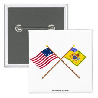 Bandera cruzada de Betsy Ross y color del caballo  Pins