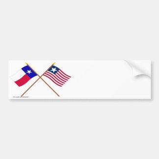 Bandera cruzada de Tejas y bandera naval Pegatina De Parachoque