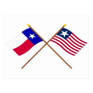 Bandera cruzada de Tejas y bandera naval Postales