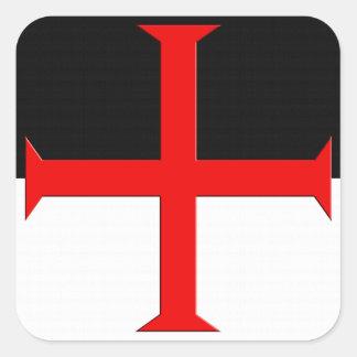 Bandera cruzada de Templar de los caballeros Pegatina Cuadrada