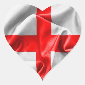 Bandera cruzada inglesa del St Jorte Pegatina En Forma De Corazón