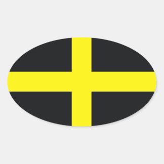 bandera cruzada Reino Unido País de Gales de David Pegatina De Óval