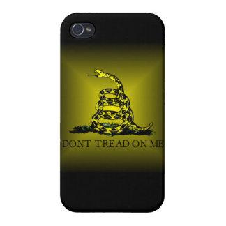 Bandera cuadrada de Gadsden del resplandor solar iPhone 4 Protector
