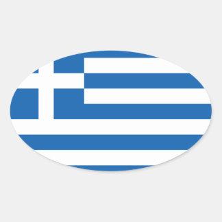 "Bandera CUATRO de Grecia ""ΕΛΛΆΔΑ "" Pegatina Ovalada"