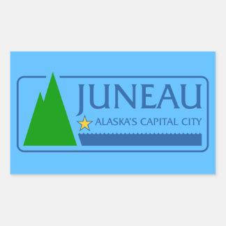 Bandera CUATRO de Juneau, Alaska Pegatina Rectangular