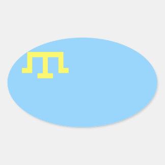 Bandera CUATRO de la gente tártara crimea Pegatina Ovalada