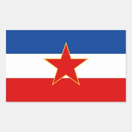 Bandera CUATRO de Yugoslavia (1945-1992) Rectangular Pegatinas