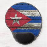 Bandera cubana con efecto de madera áspero del gra alfombrillas con gel